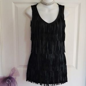 CACHE SIZE SMALL BLACK FAUX LEATHER FRINGE TOP